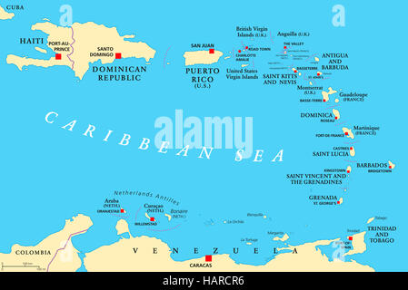 Lesser Antilles political map. The Caribbees with Haiti, the Dominican Republic and Puerto Rico in the Caribbean - Stock Photo