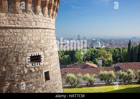 Brescia - The outlook over Brescia from the Castele with the cupola of Duomo in morning light. - Stock Photo