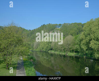 Riverside promenade,Herchen,River Sieg,Germany - Stock Photo