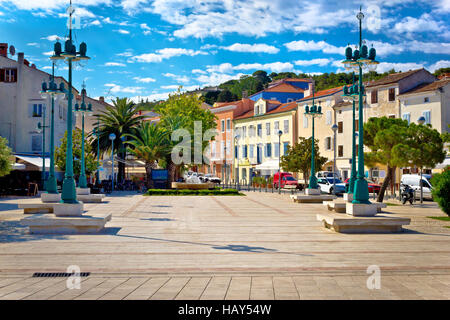 Mali Losinj square colorful architecture, Dalmatia, Croatia - Stock Photo