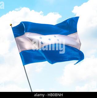 Flag of Honduras Raised Up in The Sky - Stock Photo