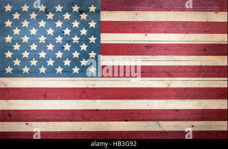 USA flag painted on faded wooden boards - Stock Photo