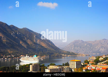 Cruise ship in Montenegro bay - Stock Photo