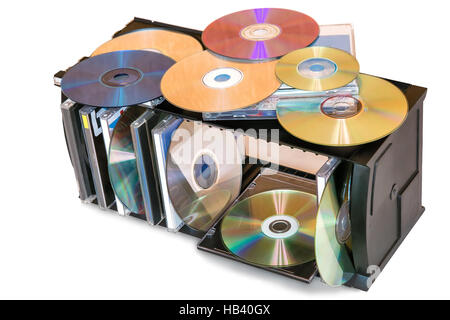 Compact discs in the storage container. - Stock Photo