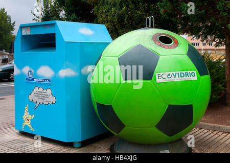 Containers for recycling of clothing and glass, Sada, La Coruña province, Region of Galicia, Spain, Europe - Stock Photo