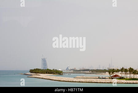 Beaches and buildings in Dubai, UAE - Stock Photo