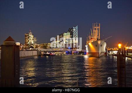Elbe Philharmonic Hall and Museum Ship ´Cap San Diego´, harbour, Hamburg, Germany - Stock Photo