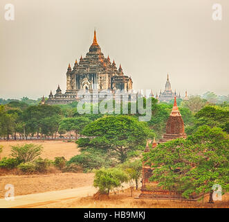 View from the Shwesandaw pagoda. Panorama - Stock Photo