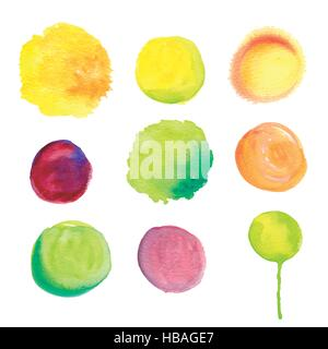set of round watercolor stains in different colors - Stock Photo