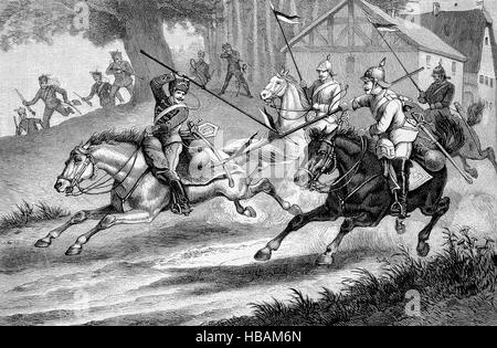 Lance armed Prussian hussars and cuirassiers, hictorical illustration from 1880 - Stock Photo