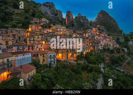 Castelmezzano at night, Basilicata, Italy - Stock Photo