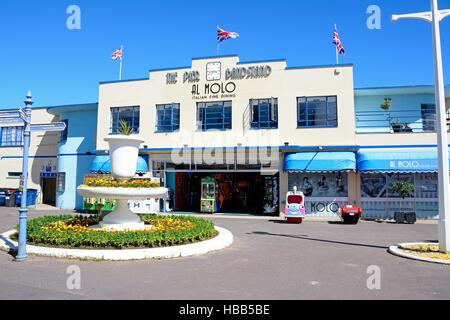 Front view of the Pier Bandstand along the Esplanade, Weymouth, Dorset, England, UK, Western Europe. - Stock Photo