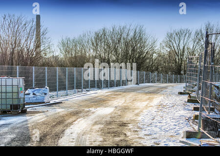 Road Construction in winter - Stock Photo