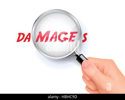 damages word showing through magnifying glass held by hand - Stock Photo