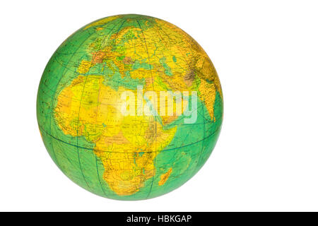 Globe with planet earth isolated on white - Stock Photo