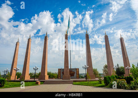 Independence monument statue in Shymkent, Kazakhstan - Stock Photo