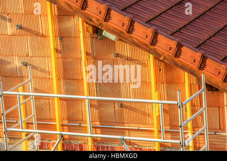 detail of wall insulation in a new house - Stock Photo