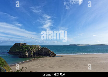 Tenby Beach Panorama, Viewing sea and St. Catherines Island - Stock Photo