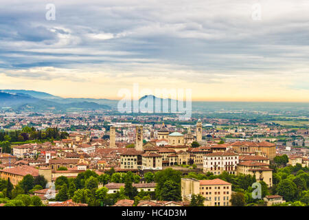 View of Bergamo, Italy at the sunset - Stock Photo