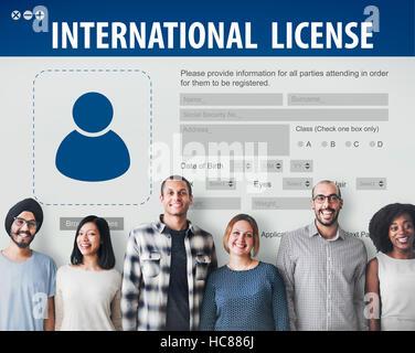 International Driver's License Card Identification Data Information Concept - Stock Photo
