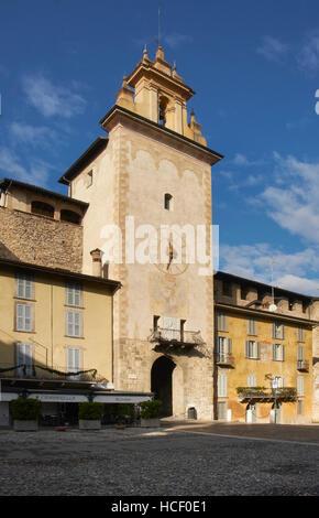 Torre della Campanella, Bergamo. 14th Century fortified city gate with belfry, restored in the 19th century - Stock Photo