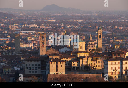 Bergamo, Italy. Sunset panoramic view from San Vigilio. - Stock Photo