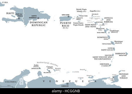 Lesser Antilles political map. Caribbees with Haiti, Dominican Republic and Puerto Rico in the Caribbean Sea. Gray - Stock Photo