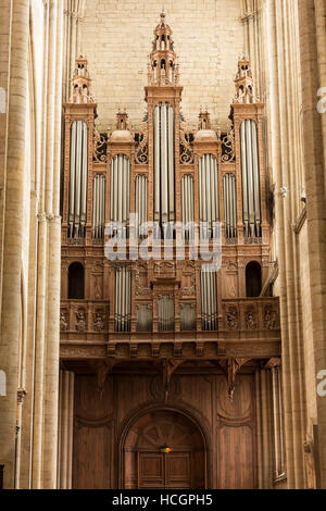 The huge organ inside Le Mans cathedral. - Stock Photo