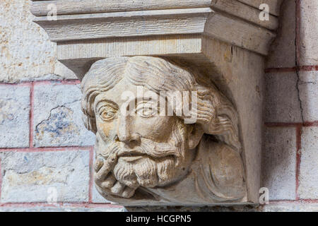 A carving of Jesus Christ inside Le Mans cathedral. - Stock Photo