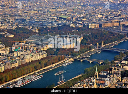 View of Grand Palais and Petit Palais from the top of the Eiffel Tower. Paris, France. - Stock Photo