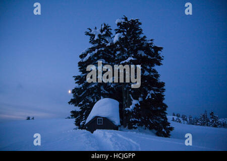 A trail leads through deep snow to the toilet outhouse adjacent to the Elfin Lakes Hut at dawn in Garibaldi Provincial - Stock Photo