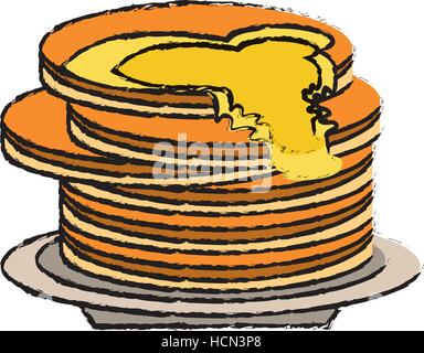delicious pancakes maple syrup sketch - Stock Photo