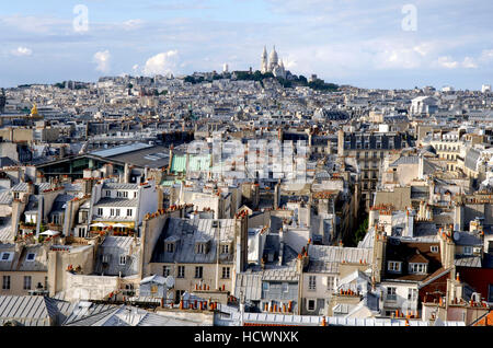Large view of Montmartre and Paris / France - Stock Photo