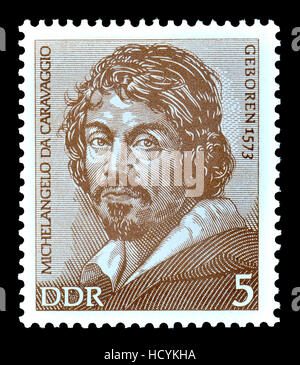 East German (DDR) Postage Stamp (1973) : Michelangelo Merisi da Caravaggio (1571 – 1610) Italian painter (from a - Stock Photo