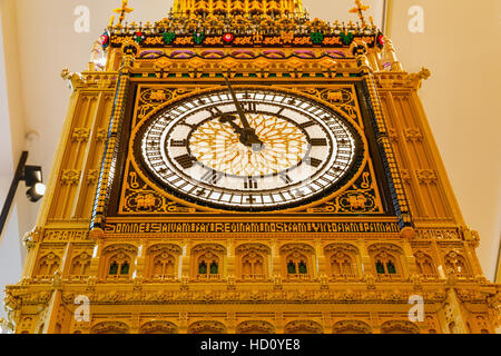 London, UK - November 22, 2016 - Big Ben built from LEGO bricks, displayed in the world's largest LEGO store - Stock Photo
