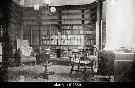 The library at Gad's Hill Place, Higham, Kent, England.  Home of Charles John Huffam Dickens, 1812 – 1870.  English - Stock Photo