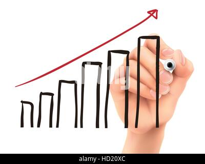 growing graph drawn by 3d hand over white background - Stock Photo