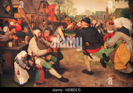 Flemish Renaissance Painting (1568) depicting The Peasant Dance by Pieter Brueghel the Elder - Stock Photo