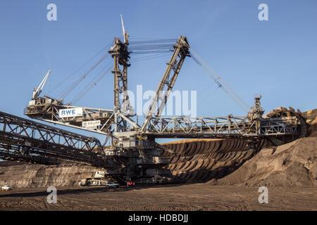 Bucket wheel excavator from RWE in the surface mine Garzweiler, Germany - Stock Photo