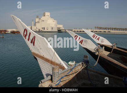 View from a Dhow, Dhow Harbour onto the museum for Islamic Art, architect I.M.Pei, Doha, Qatar, Middle East - Stock Photo