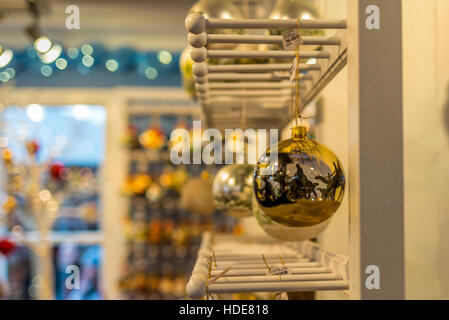 Hand-made glass decorations in a typical Christmas market in Switzerland - 2 - Stock Photo