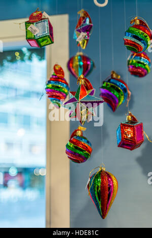 Hand-made glass decorations in a typical Christmas market in Switzerland - 3 - Stock Photo
