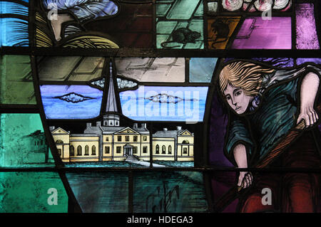 Detail of the Famine Window in Belfast City Hall - Stock Photo