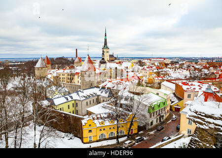 Beautiful winter view to Tallinn old town, Estonia - Stock Photo