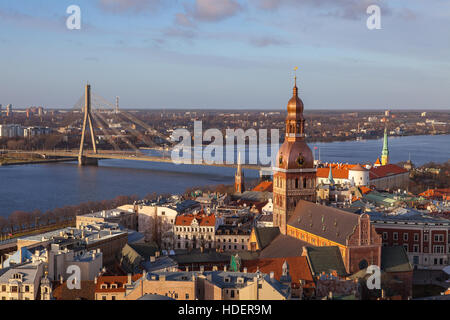 Aerial simmer day view of old town and Daugava river from St Peter church, with Riga Cathedral, Latvia - Stock Photo