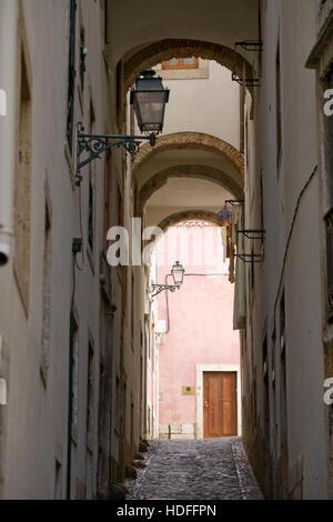 Picturesque lane in Alfama, Lisbon, Portugal, Europe - Stock Photo