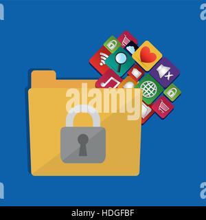 internet security folder files social media icons vector illustration eps 10 - Stock Photo