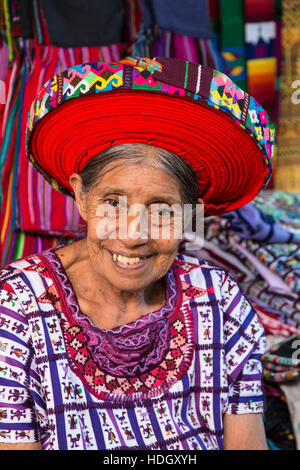 An older Mayan woman wearing traditional dress, including a tocoyal or head wrap tyipical of Santiago Antitlan. - Stock Photo