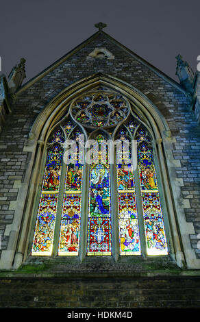 The stained glass window at the Newport Minster church in St Thomas Square, Isle of Wight. - Stock Photo