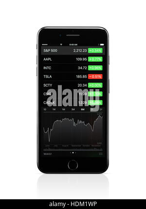 Apple iPhone 7 Plus with with stock market app on its display isolated on white background with clipping path - Stock Photo